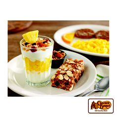Start your day with vanilla yogurt layered with pineapple and topped with crunchy granola.It's paired with our special-recipe Apple n' Almond chewy granola bar.    Answer fun questions and you could win in the Cracker Barrel Old Country Store Pick it to Win it Sweepstakes. Start 'picking' your answers at crackerbarrel.com/win (ends Jan 2, 2013).