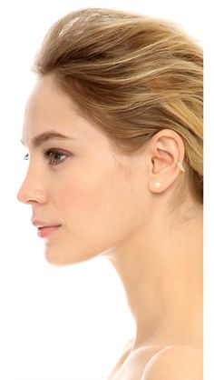 A refined Gold Philosophy ear cuff, detailed with pavé cubic zirconias and a delicate cultured freshwater pearl. Post closure and ear cuff attachment. http://goo.gl/MueHhZ  18k gold vermeil. Imported, Taiwan. NOTE: This earring is sold as a single, not a pair.