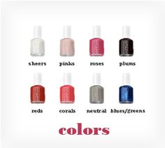 love essie's website.  you can click on any swatch and see it in the bottle.  plus they give nice descriptions.  http://www.essie.com/nail-colors/