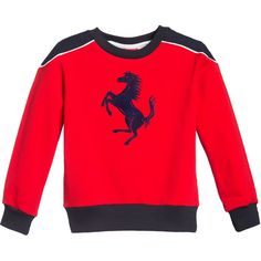 Boys bright red long sleeved sweatshirt by <span>Ferrari made from a mid-weight cotton jersey with a soft fleecy inside feel. It has contrast navy blue shoulders, collar, cuffs and hem. The famous 'Prancing Horse' logo is printed on the front in a raised velour.<br /></span> <ul> <li>93% cotton, 7% elastane (fleece lined sweatshirt jersey)</li> <li>Machine wash (30*C)</li> <li>Small fitting</li> </ul>
