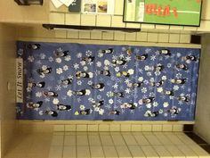 We did this activity we found on Pinterest for our door decoration for the winter