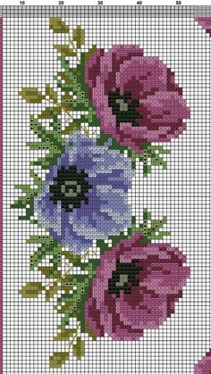 The picture called 55 Gráficos de Flores em Ponto Cruz – Grátis para Baixar Cross Stitch Borders, Cross Stitch Rose, Cross Stitch Flowers, Cross Stitch Designs, Cross Stitching, Cross Stitch Embroidery, Embroidery Patterns, Hand Embroidery, Cross Stitch Patterns