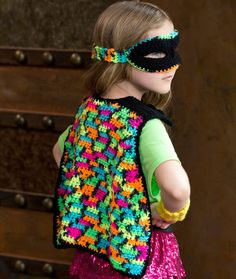 Girly Masked Hero Set ~ This could also be made for a boy, using a camo print, or other boy-type yarn.