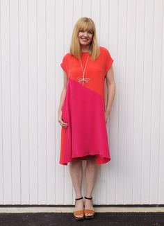 two tone fuschia and orange dress| 40plusstyle.com