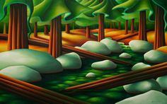 Dana Irving Sticks and Stones 30 x 48 Art And Craft Design, Design Art, Foreground Middleground Background, Trees Drawing Tutorial, Drawing Ideas, Landscape Art, Landscape Paintings, Dynamic Painting, Emily Carr