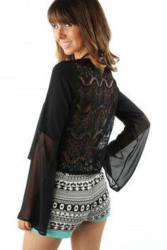 Lace Bell Blouse $24.99 #sophieandtrey #tops #blouses #bellsleeve #lace