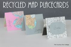 Recycled Map Placecards...could be greeting cards too