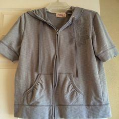 Short Sleeved Hoodie Very cute gray hoodie with flower detail. Short sleeves. Size Small. Vintage Cotton Tops Sweatshirts & Hoodies