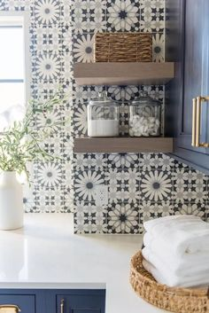 Traditional meets contemporary in this refreshing family home in Indiana Laundry Room Tile, Room Tiles, Transitional Kitchen, Transitional Decor, Indiana, Hygge Home, House Paint Exterior, Southern Homes, Beautiful Space