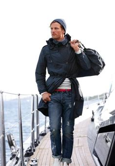 Ahoy, sailor! The #nautical look! Stripes, red belt and white shoes