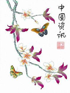 Art japonais traditionnel : peinture papillon fleurs de cerisier