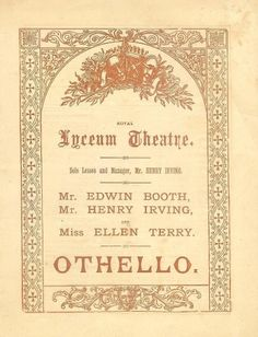 Edwin Booth Henry Irving RARE 1881 Othello Opening Night Program | eBay
