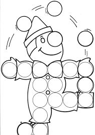 'Please Give The Clown His Pom Pom Dots Back?'( using little round paper snips, Bingo Dots, or shaped stickers.) after that Color the Total Scene! Clown Crafts, Circus Crafts, Preschool Art Projects, Preschool Activities, Mardi Gras Activities, Theme Carnaval, Sunday School Coloring Pages, Do A Dot, Color Games