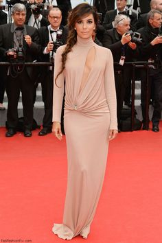 """Eva Longoria in Vionnet dress at the """"Foxcatcher"""" premiere during the 67th Annual Cannes Film Festival."""