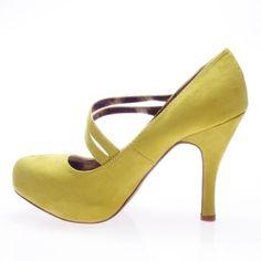 Qupid Women's TRENCH26 Almond Toe Double Mary Jane Straps Platform High Heel Stiletto Pump Shoes, Lemon Yellow Green Faux Suede, 8 B (M) US Qupid,http://www.amazon.com/dp/B00CMZOJKS/ref=cm_sw_r_pi_dp_JbcBtb1V5RN73TBG