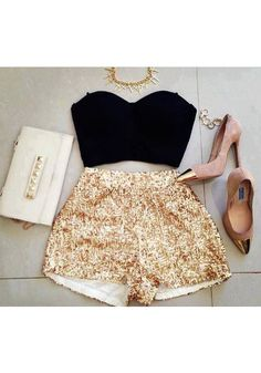 Great way to style gold sequined shorts