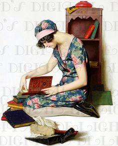Love Songs! 1920s Flapper Reading. Vintage Illustration. Digital Flapper Download. Vintage Digital Print.