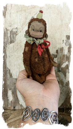 """TINY Size.... Aprox. 5"""" tall - Antique Classic Style tattered & well loved old circus monkey with vintage aged ruff collar, bow & tiny..."""