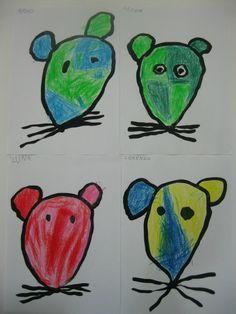 autour du TRAIN DES SOURIS 4 : coloriage des têtes de souris Mouse Paint, Petite Section, Kindergarten, Art Plastique, Snowman, Disney Characters, Fictional Characters, Train, Support