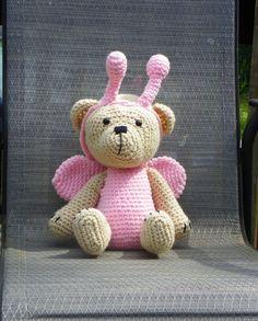 Butterfly Teddy Bear, Stuffed Teddy, Crochet Stuffed baby plushie,  amigurumi bear, Knitted Teddy Bear, Baby shower Gift,