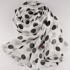 White Silk Chiffon Scarf with Large Polka Dot Print  by RobePlus