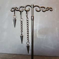 Black Metal Spike earring - Punk Rock Jewelry - Single dangle for men women - Chain option