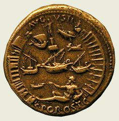 Sestertius of Nero, 54-68 CE. This coin depicts the opening of the new Roman port at Ostia (Portus). London, British Museum.