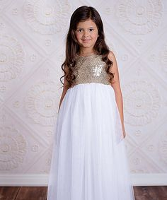 This Gold & White Tulle Tutu Dress - Toddler is perfect! #zulilyfinds