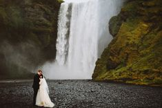 Iceland elopement portrait by a waterfall