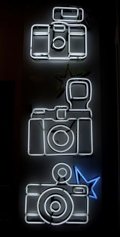 Cameras. Neon Art//Neon Lights • Pinterest • @camillaloves22
