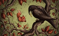 The Fox and the Crow by Evanira.deviantart.com on @DeviantArt