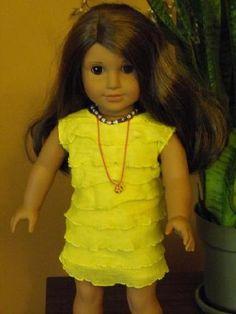 Handmade American Girl ruffle dress/ yellow