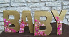 BABY Table Decoration, B A B Y Decoration, Cute as a Button, Cute as a Button Baby Shower, Party, Custom Parties by PartyAtYourDoor on Etsy