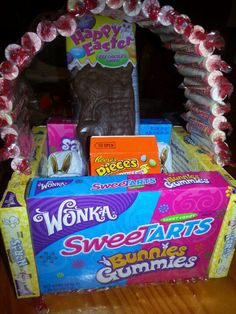 Edible easter basket hot glue 4 boxes of candy to piece of cardboard edible easter basket use the favorite candy of the person and glue together i used boxes of nerds n sweetarts for sides n regular sweetarts for bottom and negle Gallery