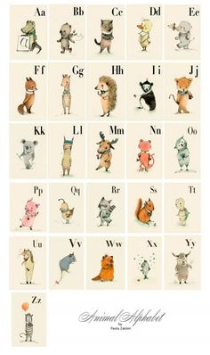 This ABC is a vintage style, alphabet picture book , drawing and digital colored and featuring various animals from around the world. Each animal corresponds to a letter in the alphabet, has a most loving and sometimes quirky personality and each has bea… Alphabet Wall Cards, Alphabet Nursery, Letter Wall Art, Alphabet Print, Alphabet Posters, Caligraphy Alphabet, Abc Wall, Kids Alphabet, Typography Alphabet
