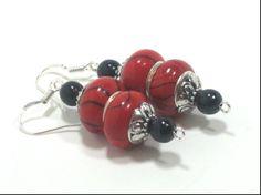 European Style Red Bead Dangle Earrings Chunky by cynhumphrey, $6.50