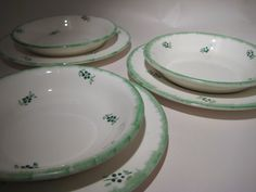 Green and White Floral Print Dishes  Barratts of by Hazel Roberts