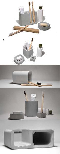 Arts Concrete Pen Pencil  Holder Vase Toothbrush Toothpaste Stand Holder  Office Desk Stationery  Organizer