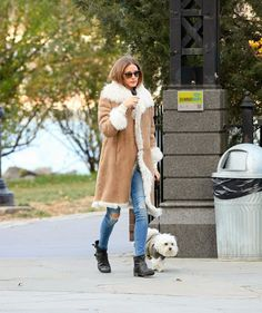 Olivia Palermo walking Mr. Butler in New York City.