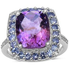 4.51 Ct Tw Amethyst, Tanzanite And White Topaz Ring In Sterling Silver (395 BRL) ❤ liked on Polyvore featuring jewelry, rings, purple, purple jewelry, purple amethyst ring, tanzanite rings, sterling silver tanzanite ring and round amethyst ring