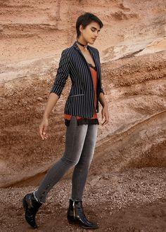 #esprit #spring17 #lookbook with @jilla.tequila #stripes #blazer #skinnyfit #denim #lacetop