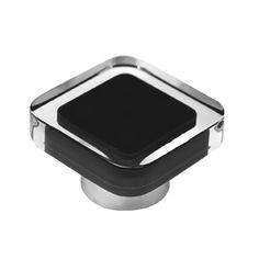pomo tirador metacrilato con pintura inyectada negra de alta calidad modelo 697NE para mueble de salon y cocina