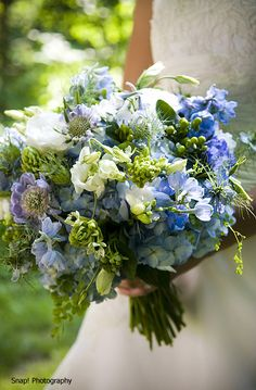 Light blue hydrangea,freesia,and scabiosa...lush summer bouquet