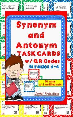 24 Antonym Cards 24 Modified Antonym Cards 24 Synonym Cards 24 Modified Synonym Cards  All are self-checking w/ QR Codes!