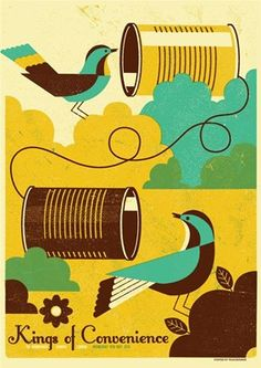 illustration of Gig Merchandise Screen Print Bold Simple Shapes Colourful Striking Impact Texture Birds Talking Communicate Phone String Can Tin Out Doors
