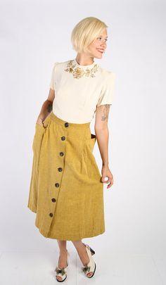 1940s Skirt // vintage 40s // Gold Light Skirt by dethrosevintage, $68.00
