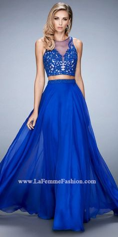 Sheer Illusion Two Piece Prom Dress by La Femme  #edressme