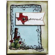 "Texana Designs card sample by DTM Megan Bickers using our Texana Designs Jam'n Frame-Cactus, Jam'n Texas solid and ""proud"" (artwork by DTM Karen Lambert) stamps."