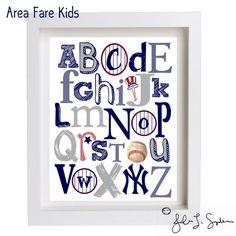 8 x 10 NY Yankees ABC Nursery Art Print by AreaFareKids on Etsy, via Etsy.