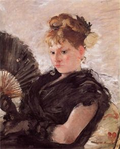 Woman with a Fan (aka Head of a Girl), 1876  Berthe Morisot